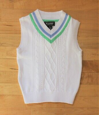 933c9289c NWT E Land Kids Little Boys' Size 4 Cable Knit Sweater Vest in White