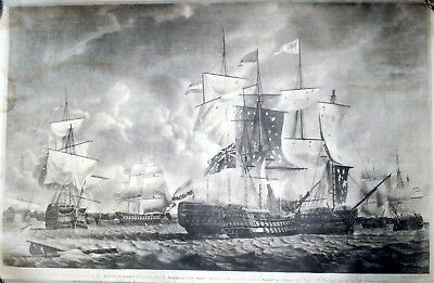 Pair Of Navy Sailing Ship Battle  Prints For Reverse Glass Painting Or Framing