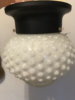 White Hobnail Milk Glass Indoor Light Fixture