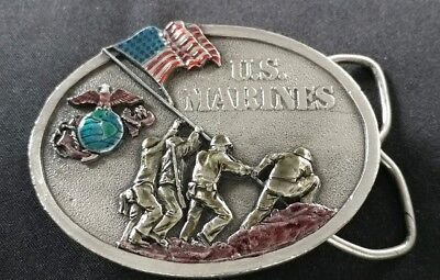 U.s. Marines Emblem Flag Raising Veterans Colorful Vintage Belt Buckle Bergamot