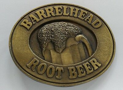 Barrelhead Root Beer Mug Soda Advertising Vintage Brass Toned Belt Buckle 1978