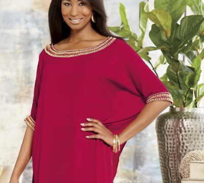 Ashro Red Gold Prima Donna Gugu Lounge Dress Ethnic African Pride One Size