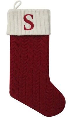 Cable Knit Christmas Stockings.St Nicholas Square Monogrammed Red Cable Knit Christmas Stocking W Letter S