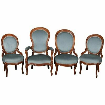Four Victorian Carved Walnut Upholstered Parlor Chairs, circa 1910
