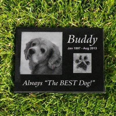 "Personalized Pet Stone Memorial Grave Engraved Granite Marker 12"" x 12"" Custom"