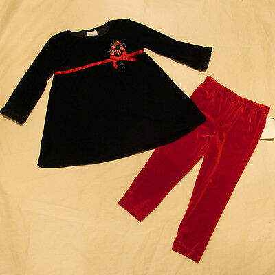 NWT Girl 's Black Tunic Top 24m Red Pants Leggings 3T Velour Holiday Long Sleeve