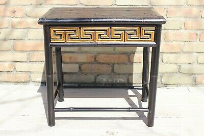 Vintage Real Bamboo Side Table Greek Key Hollywood Regency Chinoiserie Mcm