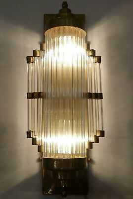 Antique Vintage Art Deco Brass & Glass Rod Ship Light Wall Sconces Lamp
