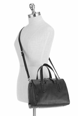 NWT FOSSIL SYDNEY Black Leather Satchel Shoulder Bag Handbag Crossbody Purse