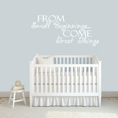From Small Beginnings Wall Decal - Nursery, Kids, Baby, Bedroom, Wall Art, Decor