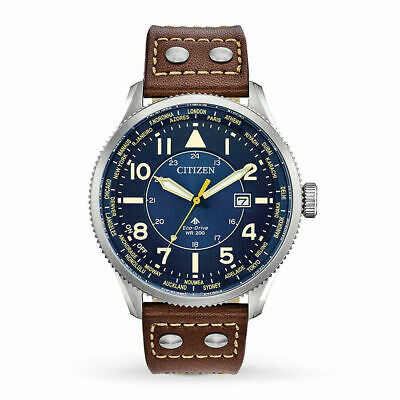 Citizen BX1010-11L Men's Eco-Drive Blue Dial Brown Leather Nighthawk 44mm Watch