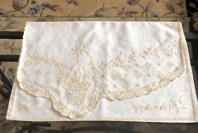 Antique Victorian Nightdress Case Cream Gold Hand Embroidery Flowers