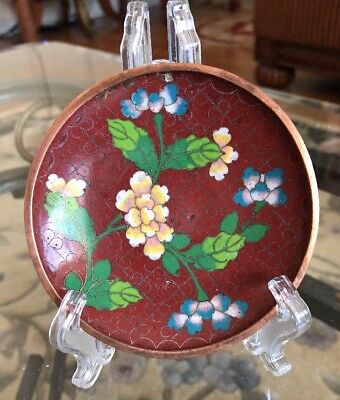 Antique Old Authentic Oriental Asian Chinese Cloisonne Enamel Floral Tray China