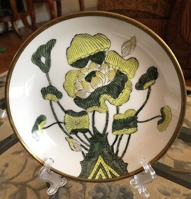 Acf Japanese Porcelain & Brass Plate Green Hand Painted