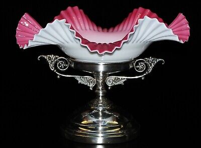 Antique Silver Plate Centerpiece with Pink and white Ruffle Bowl.