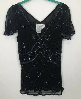 Adrianna papell boutique Evening Silk sequin beaded top Shirt Blouse Cocktail M