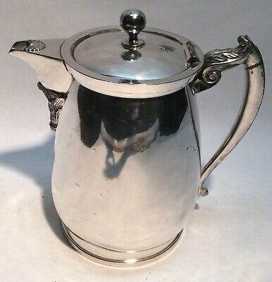 Antique 1868 Meriden Britannia Silver Plate Double Wall Insulated Water Pitcher