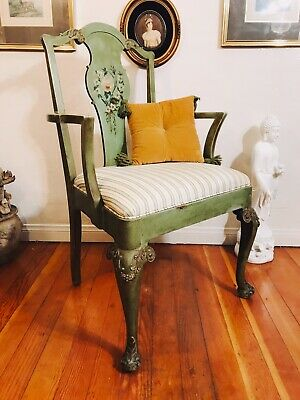 Early 20th Century Carved Green Chair With Hand Painting