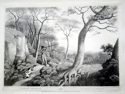 Pair French Hunting Scenes.rice Paper Prints For Reverse Glass Painting/framing