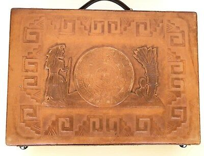 Vintage Hand tooled Camel Brown leather Briefcase Aztec calendar Mexico