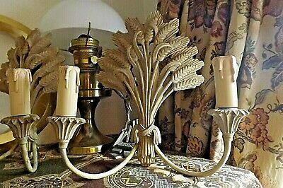 2 Quality Antique French Style Wheatsheaf Double Wall Lights In Cream/Gold