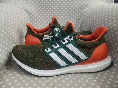 93dbe4fcd31 New Adidas UltraBOOST 4.0  Miami Hurricanes  Size 10.5 running shoes men s