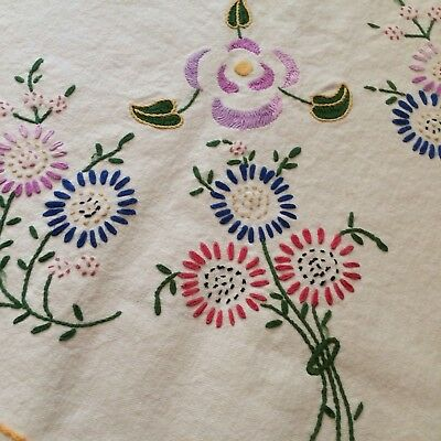 """Antique? vtg tablecloth ivory canvas hand embroidered 62""""sq COT FARM CHIC"""