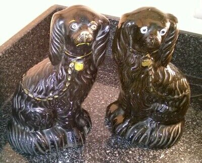 Vintage Pair Victorian Black Wally Dogs Staffordshire King Charles Spaniel Figs