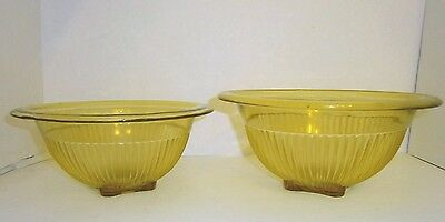 Vintage Federal Glass Pillar Nesting Mixing Bowls Set 2 Golden Glo Yellow Ribbed