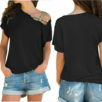 Womens Off The Shoulder Tunic Tops Short Sleeve Blouse Baggy T Shirts Plus Size