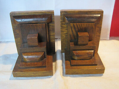 Vintage Mission style or Arts & Crafts period wooden bookends
