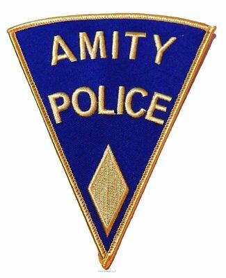 """Jaws Movie Amity Police Shoulder Logo Smaller Yellow 3"""" Tall Patch"""