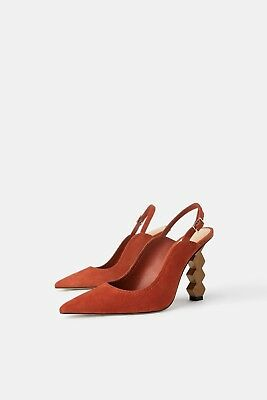 5e35f7b6559 Zara New Geometric Heel Leather Slingback Shoes Burnt Orange Suede Size Uk  3-8