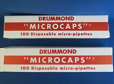 200 Drummond Microcaps Microliter Pipets 100µL #1-000-1000 Micropipettes