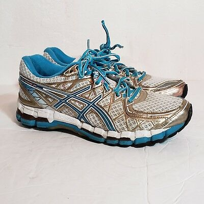 save off 4dcd6 ea50a ASICS Gel-Kayano 20 20th Anniversary Women s Size 9.5 White Gold Blue T3N7N