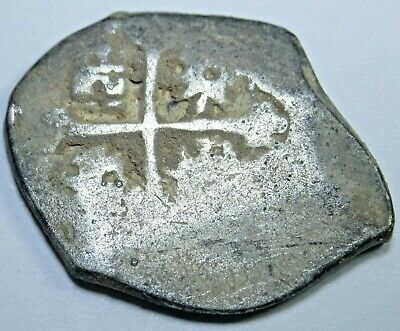1600s Spanish Silver 1 Real Cob Piece of 8 Reales Antique Pirate Treasure Coin