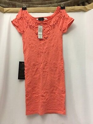 BEBE NWT SEXY Coral Aliane Lace Dress Size M/L Women's Stretchable SKIN-Tight