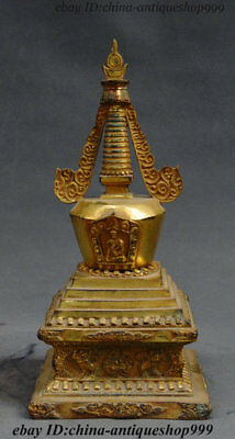 Old China Tibetan Buddhism Bronze Gilt Lion Beast God Stupa Pagoda Tower Statue