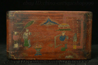 "12"" Antique Chinese Hua li Wood Carved Table Tea-Things Teapoy End table Statue"