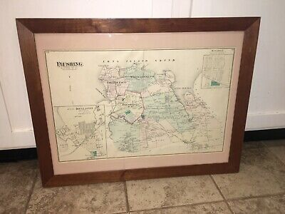 Antique 1873 Beers Map of Flushing Queens Co. LI, New York City Framed