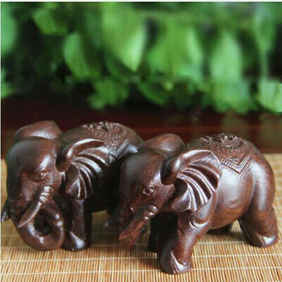 Hand Craft Lucky Elephant Natural Carved Statue Wooded Animal Office Home Decor