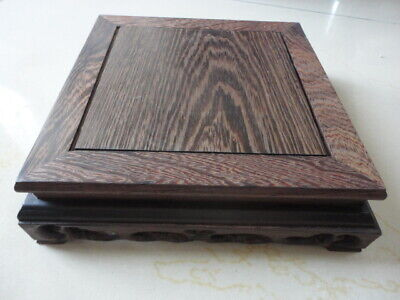 CHINESE BLACK HARD WOOD NICE CARVED Square BONSAI POT/VASE STAND 195x195mm L US