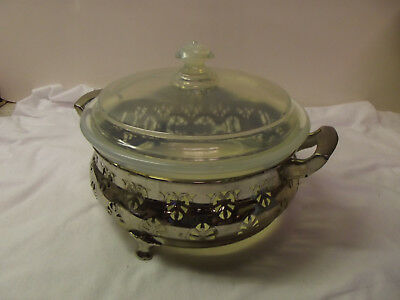 """Vintage Fry Glass Round Casserole Dish with Lid & 8 1/4"""" # 1938-8 Opalescent USA"""