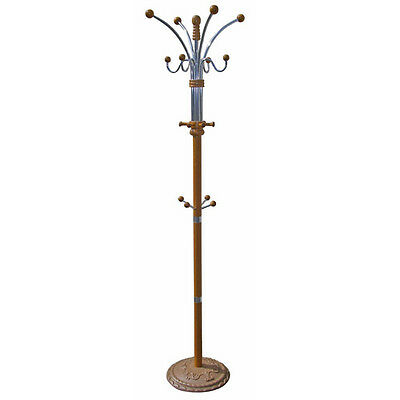 """Oak Finished Wood And Metal Coat Rack  Stand 74""""H"""