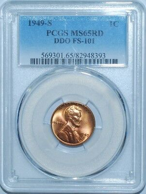 1949 S PCGS MS65RD Red FS-101 DDO Double Doubled Die Obverse Lincoln Cent