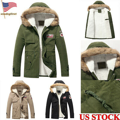 a8a72fab34f3 Mens Heavy Weight Fur Padded Warm Jacket Winter Coat Hood Long Zip Up Size  S-