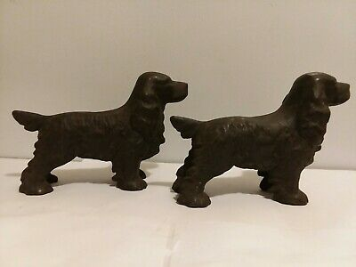 Antique PAIR Cast Iron COCKER SPANIEL Dog Statues Figurines - RARE/Very OLD 🐕