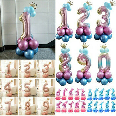 "32"" Foil Number Balloons 0-9 Rainbow Balloons Happy Birthday Party Gifts DIY"