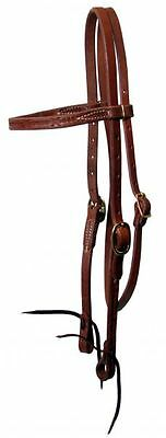 Oiled Harness Leather Western Headstall Bridle Double Buckles & Barbed Wire USA