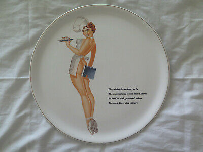 RISQUE PIN-UP NUDE SERVING PLATE 1960s MADE in JAPAN 30.7 cms CUPCAKES GENTLEMEN
